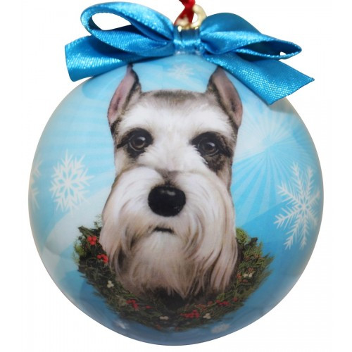 E&S Imports Shatter Proof Ball Christmas Ornament - Schnauzer (cropped)(CBO-34)