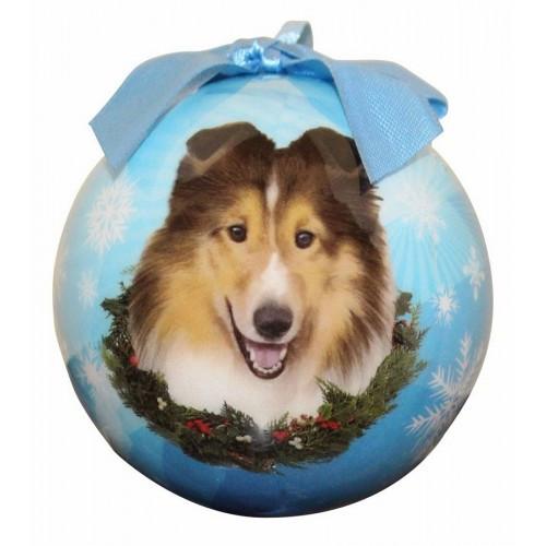 E&S Imports Shatter Proof Ball Christmas Ornament - Shetland Sheepdog (Sheltie)(CBO-37)