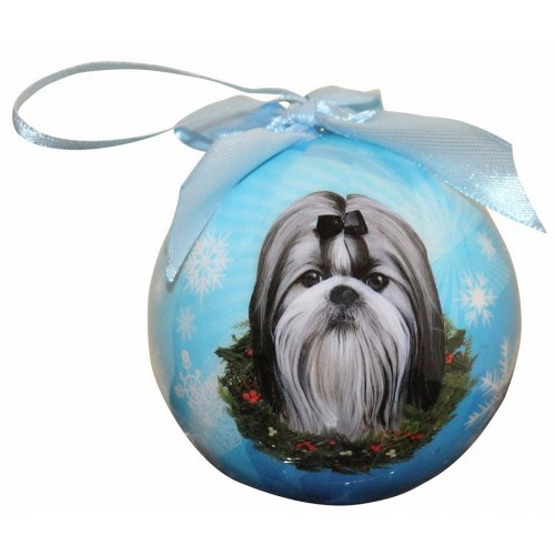 E&S Imports Shatter Proof Ball Christmas Ornament - Shih Tzu (Black & White)(CBO-39)