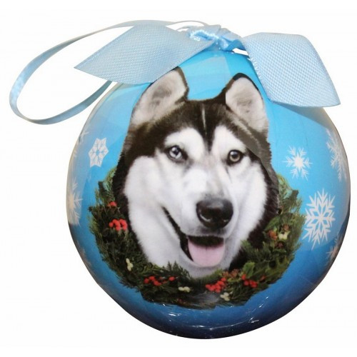 E&S Imports Shatter Proof Ball Christmas Ornament - Siberian Husky(CBO-40)