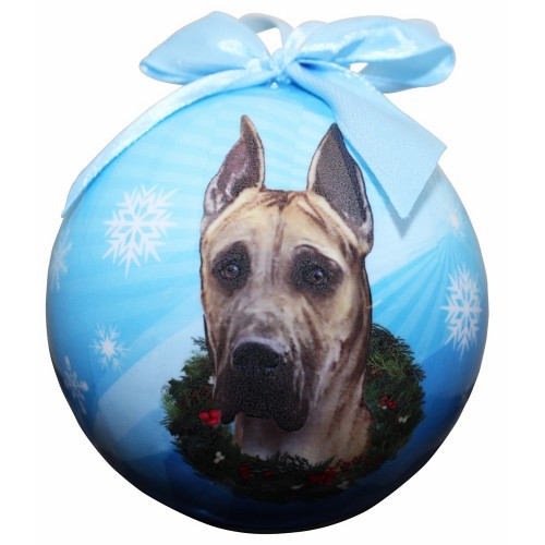 E&S Imports Shatter Proof Ball Christmas Ornament - Great Dane (fawn)(CBO-51)