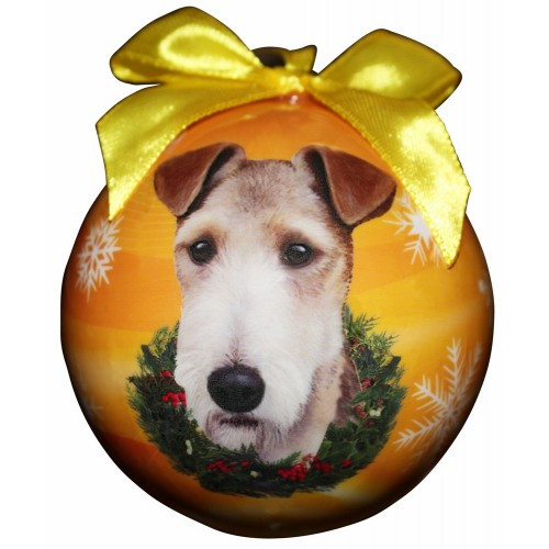 E&S Imports Shatter Proof Ball Christmas Ornament - Wire Fox Terrier(CBO-56)