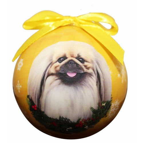 E&S Imports Shatter Proof Ball Christmas Ornament - Pekingese(CBO-61)