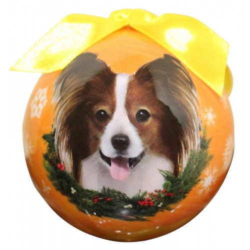 E&S Imports Shatter Proof Ball Christmas Ornament - Papillon(CBO-63)