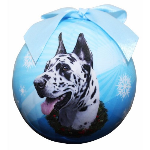 E&S Imports Shatter Proof Ball Christmas Ornament - Great Dane (Harlequin)(CBO-66a)