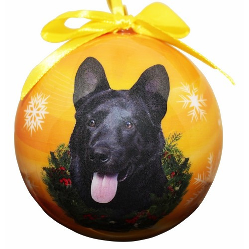 E&S Imports Shatter Proof Ball Christmas Ornament - German Shepherd (black)(CBO-75b)