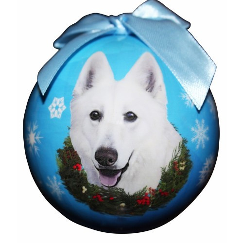 E&S Imports Shatter Proof Ball Christmas Ornament - German Shepherd (white)(CBO-75w)