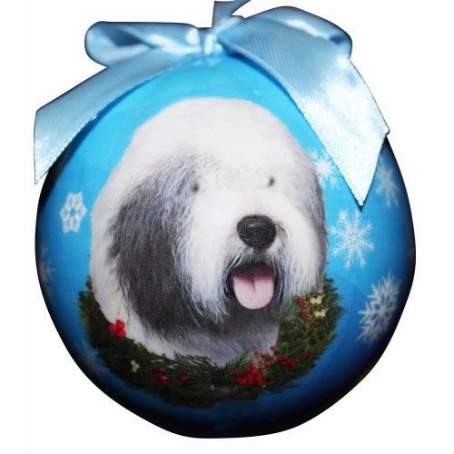 E&S Imports Shatter Proof Ball Christmas Ornament - Old English Sheepdog(CBO-77)