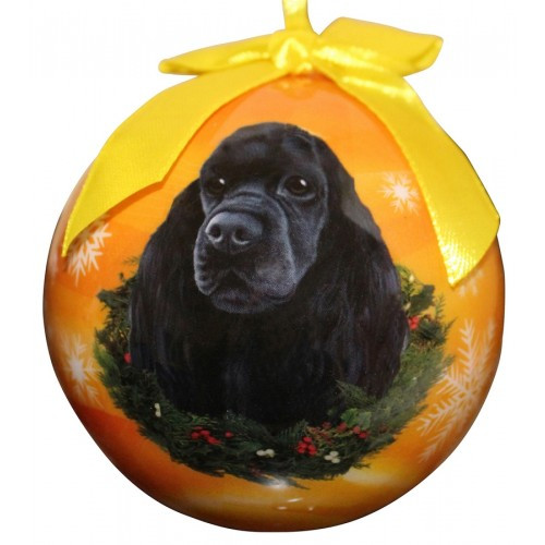E&S Imports Shatter Proof Ball Christmas Ornament - Cocker Spaniel (black)(CBO-78C)