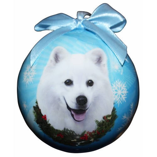 E&S Imports Shatter Proof Ball Christmas Ornament - American Eskimo(CBO-85)