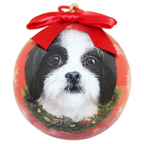 E&S Imports Shatter Proof Ball Christmas Ornament - Shih Tzu (black & white puppy cut)(CBO-87b)