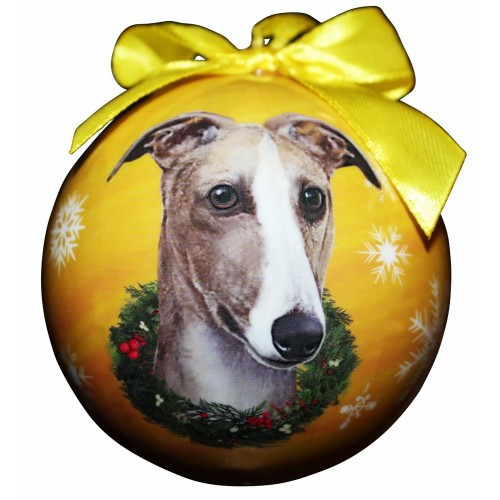 E&S Imports Shatter Proof Ball Christmas Ornament - Greyhound (fawn & White)(CBO-93)