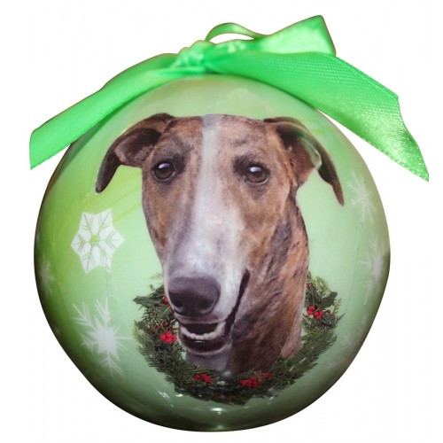 E&S Imports Shatter Proof Ball Christmas Ornament - Greyhound (brindle)(CBO-94)