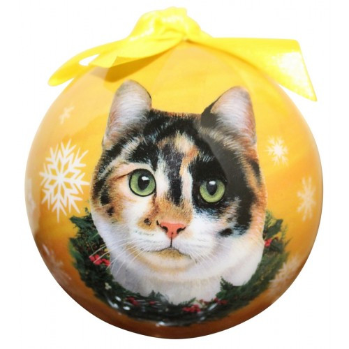 E&S Imports Shatter Proof Ball Christmas Ornament - Calico cat(CBOC-2)