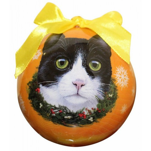 E&S Imports Shatter Proof Ball Christmas Ornament - Black and White cat(CBOC-3)