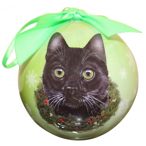 E&S Imports Shatter Proof Ball Christmas Ornament - Black cat(CBOC-5)