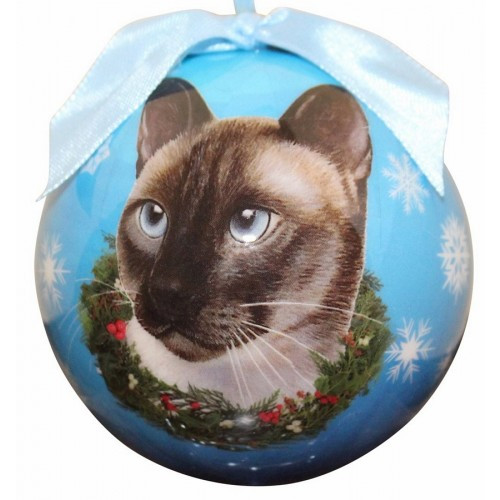 E&S Imports Shatter Proof Ball Christmas Ornament - Siamese cat(CBOC-7)