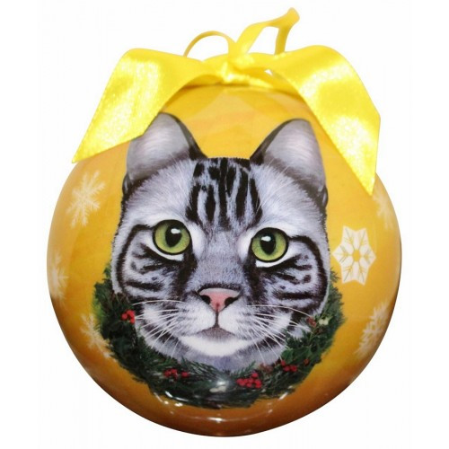 E&S Imports Shatter Proof Ball Christmas Ornament - Tabby Cat (Silver)(CBOC-9)