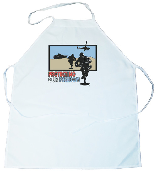 Apron -  Protecting Our Freedom-Soldiers, Tanks, helecopters in desert (100-0045-00)