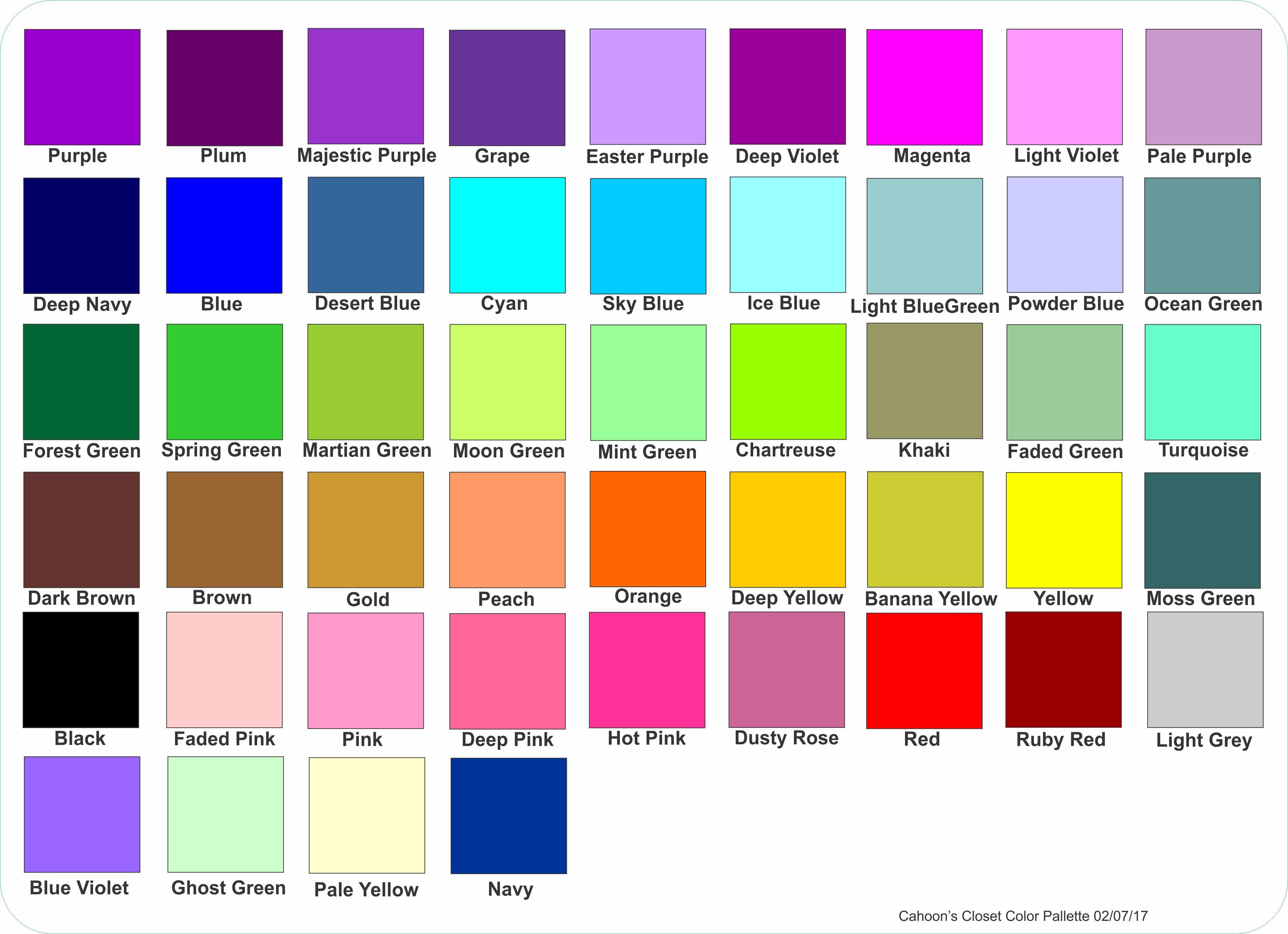 Purple Turtles Standard Color Pallet