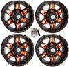 "Polaris RZR (Set of 4) Hd7 Utv 14"" Orange/Black Wheels/Rims by STI"