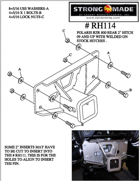 Polaris RZR 2009-2015 800 Rear Receiver Hitch by Strong Made