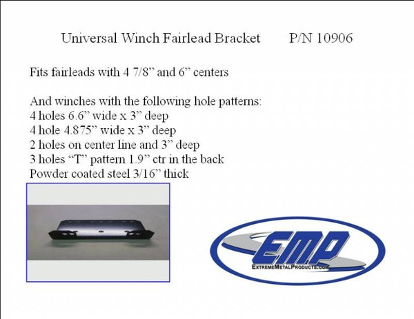 Polaris RZR 570 / 900 / XP 1000 Fairlead Bracket (2500-4000 lb Winches) by EMP
