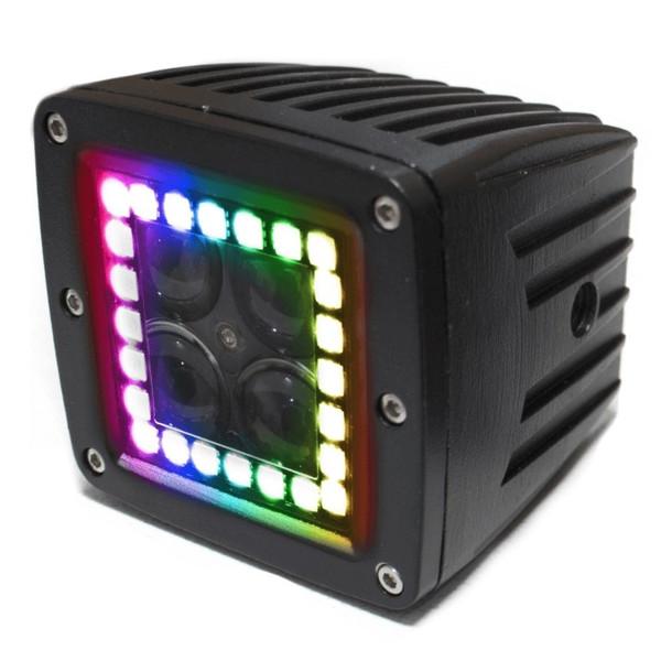 "Polaris RZR 3"" ColorADAPT Series RGB-Halo LED Cube Light Kit by Race Sport Lighting"