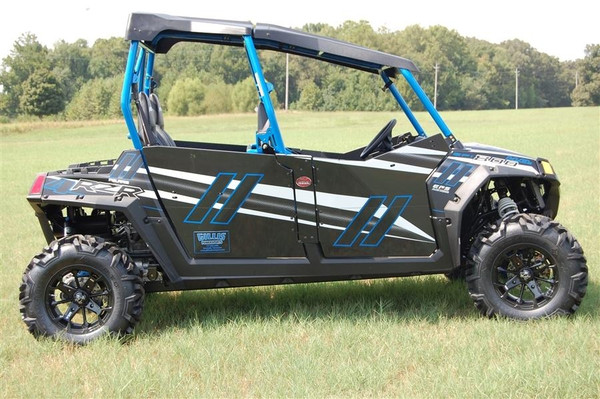 Polaris RZR 4 800 LE GenX Four Door Graphics Kit Stealth Black Voodoo Blue by Trail Armor