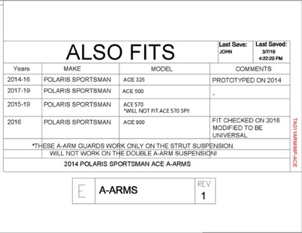 Polaris ACE iMpact A-Arm Guards by Trail Armor
