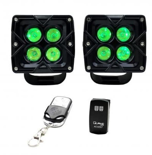 Polaris RZR 3 Inch Work Light 20 Watt Flood/Spoot RGB Accent Seismic Series Quad-Lock/Interlock by Quake LED