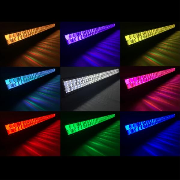 Polaris RZR 32 Inch LED RGB Light Bar Dual Row 180 Watt Combo Ultra Accent Series Quad-Lock/Interlock by Quake LED