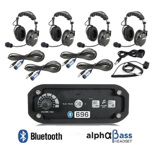 Polaris RZR 4-Place Intercom with AlphaBass Headsets by Rugged Radios