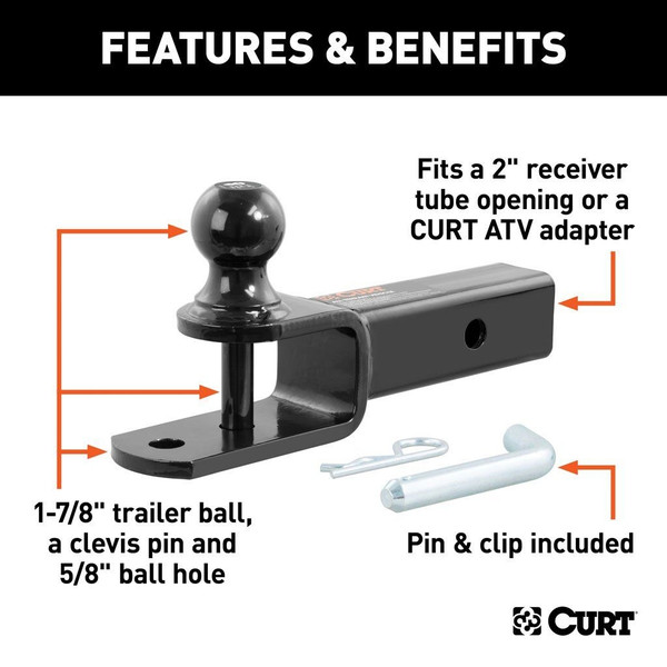 """Polaris RZR 3-In-1 Atv Ball Mount With 2"""" Shank And 1-7/8"""""""
