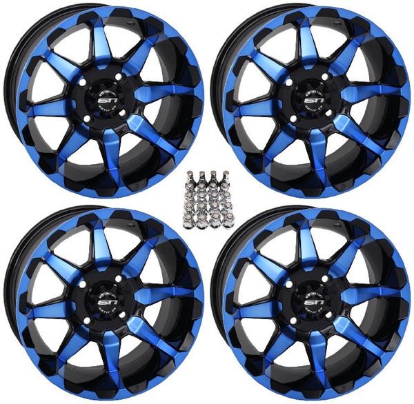 "Polaris RZR 14"" Hd6 Atv Blue/Black Wheels/Rims by STI"