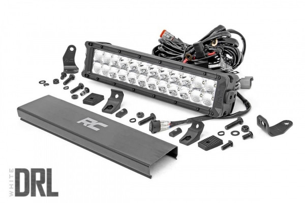 Polaris RZR 12-inch Cree LED Light Bar - (Dual Row   Chrome Series w/ Cool White DRL) by Rough Country