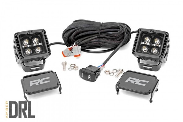 Polaris RZR 2-inch Square Cree LED Lights - (Pair | Black Series w/ Amber DRL) by Rough Country