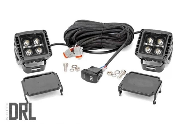 Polaris RZR 2-inch Square Cree LED Lights - (Pair | Black Series w/ Cool White DRL) by Rough Country