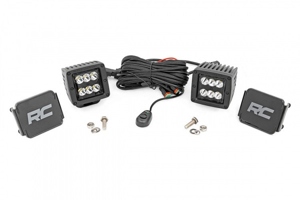 Polaris RZR 2-inch Square Cree LED Lights - (Pair | Black Series) by Rough Country
