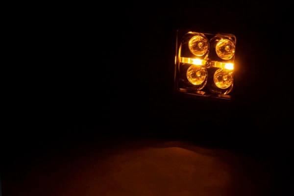 Polaris RZR 2-inch Square Flush Mount Cree LED Lights - (Pair   Black Series w/ Amber DRL)
