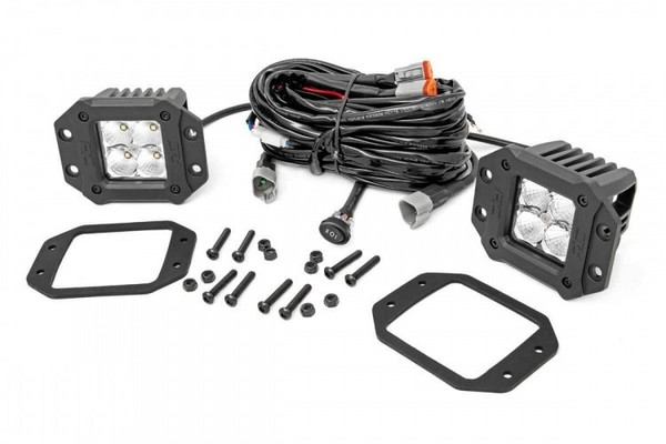 Polaris RZR 2-inch Square Flush Mount Cree LED Lights - (Pair | Chrome Series w/ Amber DRL) by Rough Country