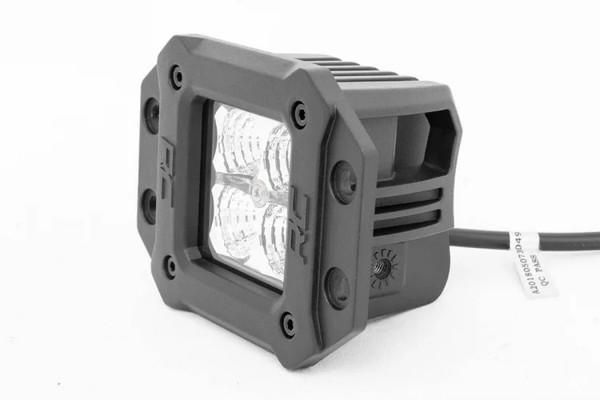 Polaris RZR 2-inch Square Flush Mount Cree LED Lights - (Pair | Chrome Series w/ Amber DRL)