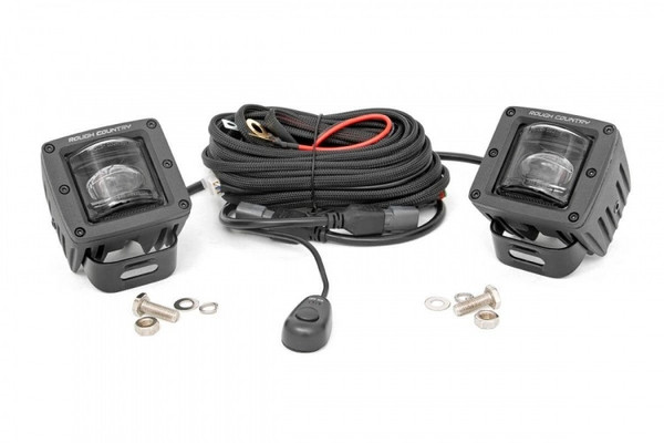 Polaris RZR 2-inch Square LED SAE Fog Lights (Pair) by Rough Country