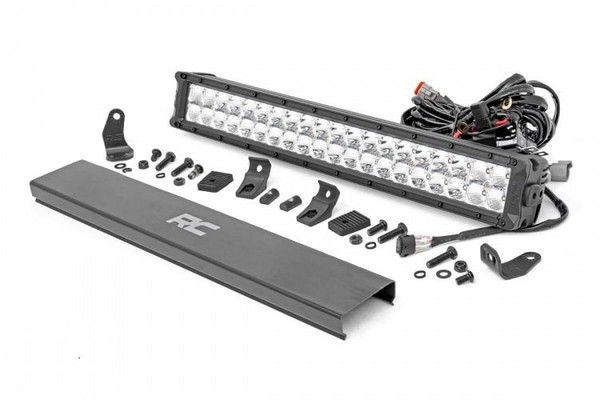 Polaris RZR 20-inch Cree LED Light Bar - (Dual Row | Chrome Series w/ Amber DRL) by Rough Country