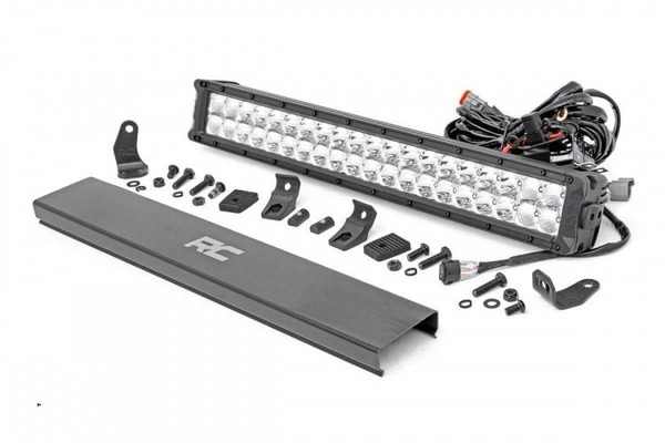 Polaris RZR 20-inch Cree LED Light Bar - (Dual Row | Chrome Series w/ Cool White DRL) by Rough Country