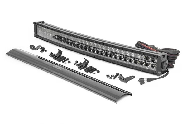Polaris RZR 30-inch Curved Cree LED Light Bar - (Dual Row | Black Series w/ Cool White DRL) by Rough Country