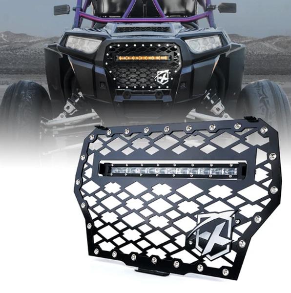 Polaris RZR 1000 XP Turbo Black Steel Mesh Grille with 60W LED Lightbar