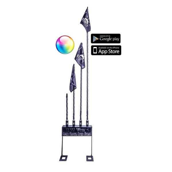 Polaris RZR 2x LED Whips w/Wireless Remote