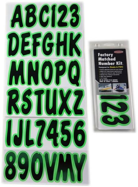 Polaris Ranger Boat Lettering Black/Kiwi 3″ Registration Kit