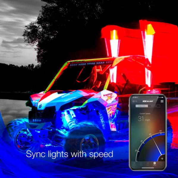Polaris RZR 2nd Gen LED Whip Kits   XKchrome Smartphone App by XK Glow (EPRZR)